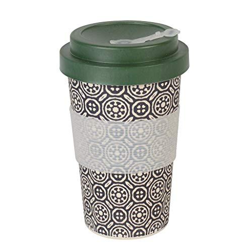 Bamboe Beker 13,5 oz Thermo Rex I Herbruikbare Koffie Beker Set in Bamboe Ik Beste Alternatief voor Wegwerp Koffie Bekers Ik Reizen Koffie Beker Ik Reizen Mok 400 ml Zwart/wit