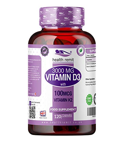 Vitamin D3 3000 IU with 100ug Vitamin K2 (MK7) - One a Day Vitamin D Cholecalciferol Skin and Joint Supplement Vegetarian Capsules - for Men and Women| 120 Days Supply | Made in UK by Health Remit