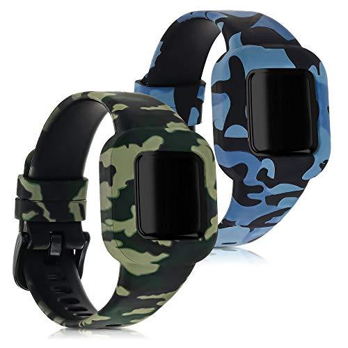 kwmobile 2X Cinturino Silicone Compatibile con Garmin Vivofit Jr. 3 - Fascetta Gommata per Smart-Watch Fitness-Tracker - Camouflage Nero Verde Chiaro Verde Scuro