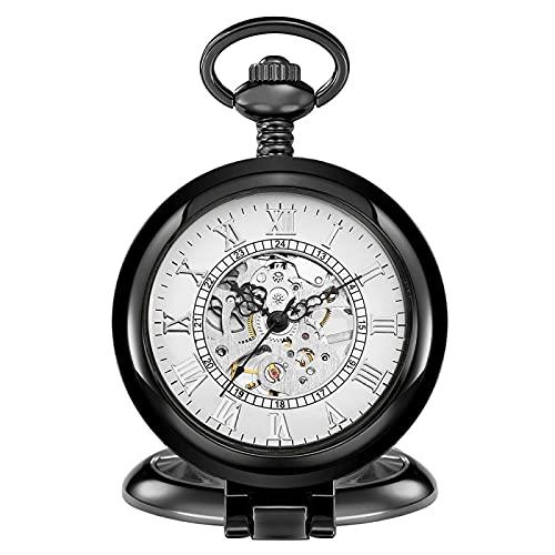 ZIYUYANG Reloj de Bolsillo,Reloj de Bolsillo mecánico Retro para Hombre, Esfera con números Romanos, Steampunk, Cuerda Manual, Regalo para Hombre, Color Negro