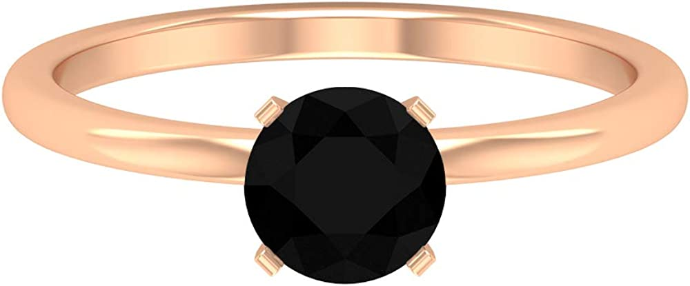 6 MM shopping Popular standard Solitaire Black Diamond Simple Solid Ring Engagement