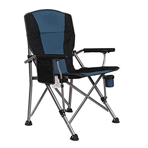 Yuzhijie al aire libre plegable silla de carga de 300 kg de playa de pesca silla de ocio portátil casa jardín mesa y silla, Azul