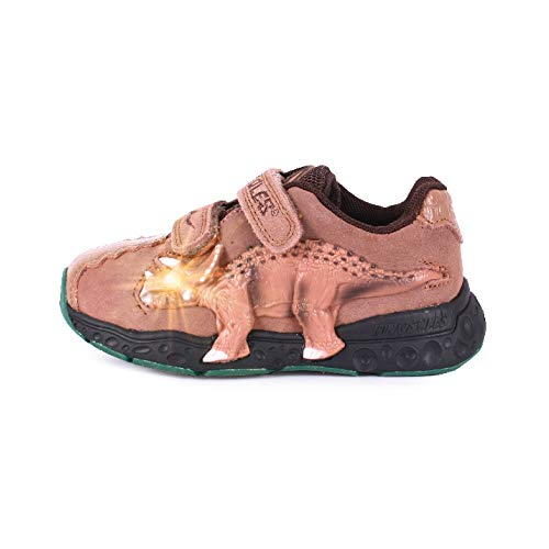 Dinosles 3D Triceratops LT Flashing LED Shoes for Kids Children Boys Girls, Lightweight & Breathable Casual Running Sneakers Walking Shoes with Eye Blinking Dinosaurs, Mocha, 10 Toddler