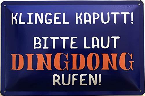Deko7 blikken bord 30 x 20 cm Spreuk: bel caputt! Gelieve naar Dingdong bellen