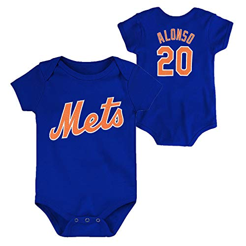 OuterStuff MLB Newborn Infants Team Color Name and Number Player Jersey Bodysuit Creeper (18 Months, Pete Alonso New York Mets Blue)