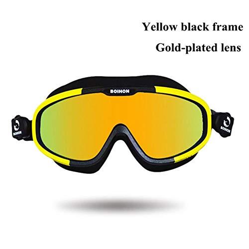 Anti-condens Zwembril Onderwatersporten Waterdicht Uv-duikbril Zwem Verstelbaar Heren Dames Zwemmen Duikbril, geel zwart frame