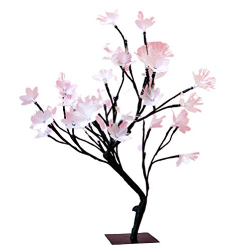Uonlytech Flower Tree Desk Lamp USB Fiber Optic Tree Night Lamp Tabletop Decorative Ornaments for Wedding Christmas