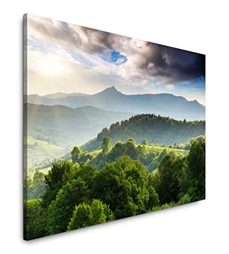 Paul Sinus Art Bepflanzte Berge 60 x 90 cm Inspirierende Fotokunst in Museums-Qualität für Ihr Zuhause als Wandbild auf Leinwand in