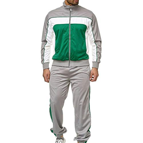 Buy Cheap Men Tracksuit Set Full-Zip Sweatshirt Jogger Sweatpants Warm Sports Suit Gym Training Wear...