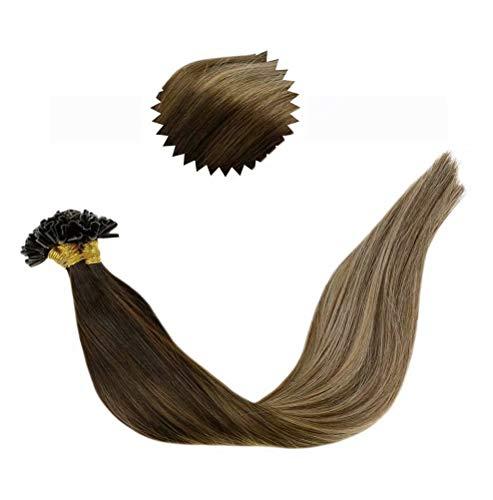 LaaVoo 16 Pouce/40cm Hot Fusion Keratine Extension Adhesive Cheveux Humains Bresilien Pose a Chaud U-Tip Bonding Extensions Brun Le Plus Foncé et Blonde Cendrée 50G/50S(#2/18)