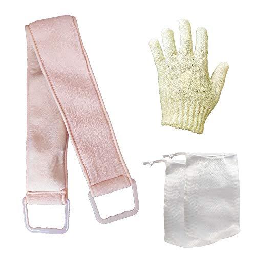 VEINARDYL Éponge exfoliante pour le dos - Gant de bain double texture - 2 sacs exfoliants pour la douche, le spa, le massage, les cellules mortes - 78