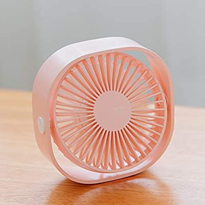 AmuseNd USB desktop fan, USB power supply ultra-quiet three-speed adjustable 4 inch portable mini fan, suitable for desktop, travel and carry. (4 inches Pink)