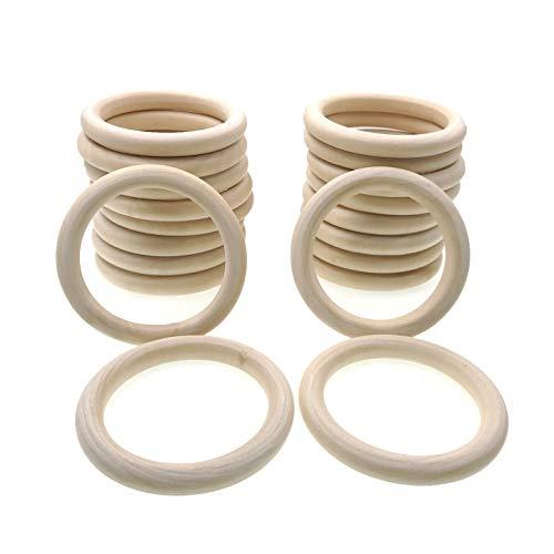 JZK 20 PCS 8cm Grande anillos de madera natural para manualidades, anillo madera sin terminar para macramé dentición bebe colgador de macetas plantas, redondos aros madera mordedor