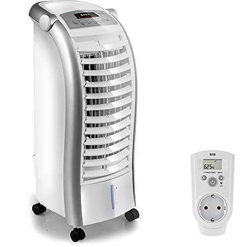 TROTEC PAE 25 Aircooler Mobiles Klimagerät Klimaanlage 3-in-1 Luftkühler Ventilator Lufterfrischer (4 Gebläsestufen, Nacht-Modus, Timer, Naturwind-Modus, uvm.) inkl. Steckdosen-Hygrostat BH30
