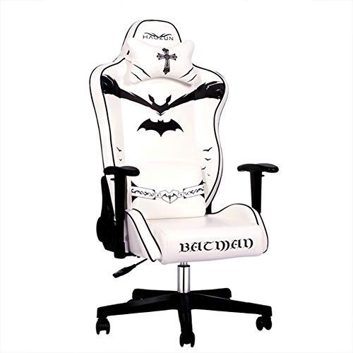 Silla Gaming, Silla Escritorio, Silla Oficina con Ruedas, Ergonomica Gamer Chair, Respaldo Lumbar, Elevación, Rotación De 360 °, Ajuste de 175 °, con Reposacabezas,Blanco
