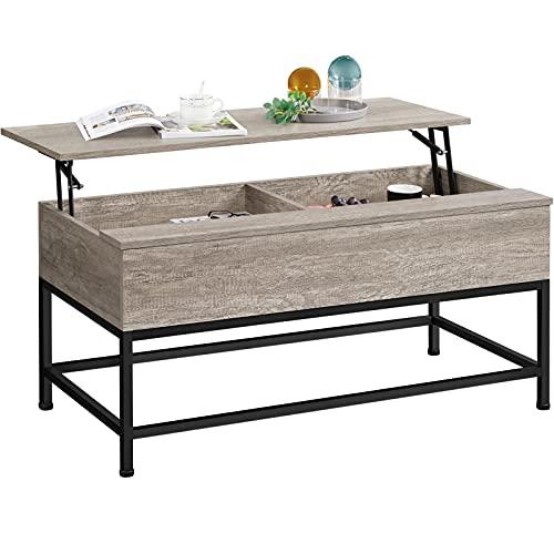 Yaheetech Tavolino da caffè Sollevabile, Tavolo Elevabile Moderno da Salotto Altezza 48-61 cm, Tavolino da Divano con Ripiano Inferiore Portaoggetti Spazioso Grigio