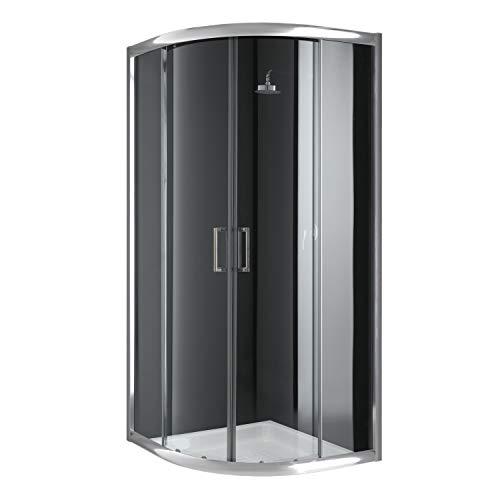 Cabina de ducha semicircular 90 x 90 x 198 cm, cristal transparente de 6 mm