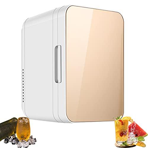 MOZX Mini Nevera 20 L, Frigoríficos Mini con Enfriar Y Calentar, Mini Refrigerador Portátil 12 V/220 V para Coche Y Casa, Refrigerador Personal Compacto para Dormitorio, Oficina,Oro