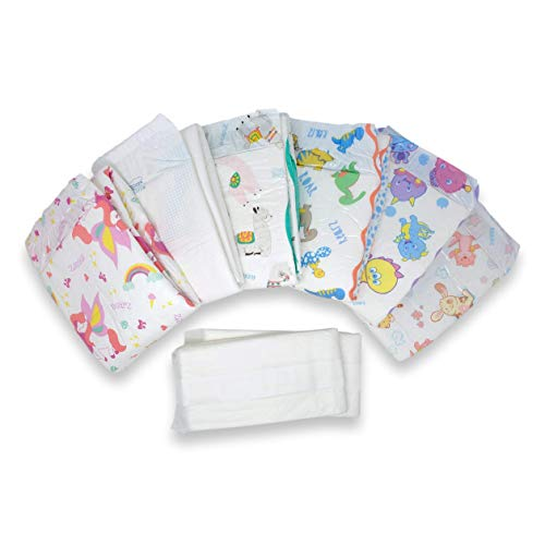 Rearz - Adult Diaper Sampler No. 2 - Variety Box (8 Pack) (Lil' Bella, InControl Elite Hybrid, Alpaca, Dinosaur, Lil' Monsters, and Lil' Squirts - Splash Diapers, Plus 2 InControl Boosters) (Large)