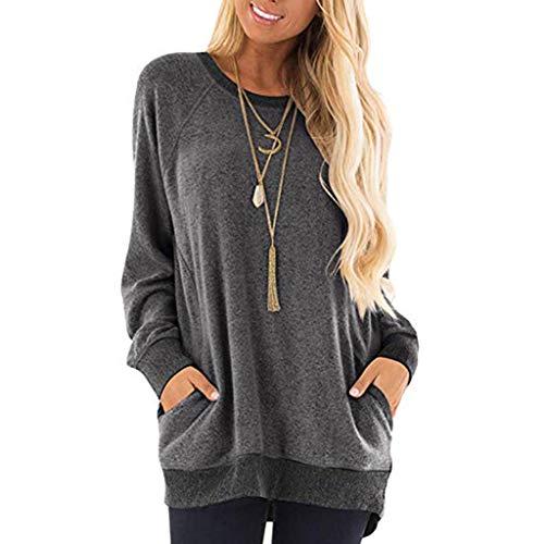 Dasongff dames sweatshirt losse casual tuniektops effen patchwork shirt lange mouwen sport pullover hoodie longshirt outwear sweater pulli shirts hemd blouse Small zwart