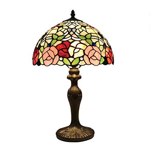 GYLNAI Tiffany lampen tischlampen, 12 Zoll rosa rot gelb Blume Glasschirm für frenbedroom Bücherregal Kommode Geschenk TFN-165