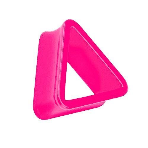 Taffstyle Kultpiercing - Túnel para la oreja (12 mm), diseño triangular, color rosa