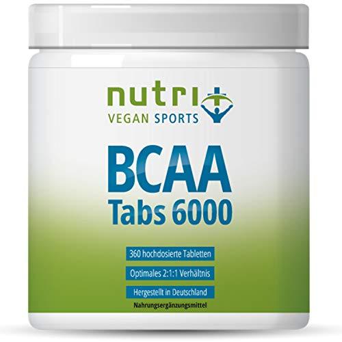 BCAA Tabletten 2:1:1 veganistisch - 360 Mega Tabs - 1000 mg BCAA Tablet - Aminos hoge dosering - essentiële aminozuren - Aminotabs zonder magnesiumstearaat