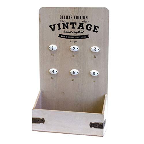 Schlüsselkasten 'Vintage', Schlüsselbrett, 6 Haken, Schriftzug, Shabby-Look, 37x22x8cm