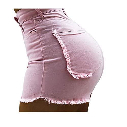 KUDICO Damen Kurze Hosen Sommer Denim Shorts Vintage Baggy Basic Kurz Jeans Hose Kurzschlüsse Destroyed Ripped High Waist Hot Pants Lochjeans mit Taschen(Rosa, EU-34/CN-S)