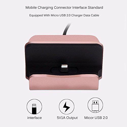 YooGoal Docking Station Desk Charger, Charging Dock, Charge and Sync Phone Stand Compatible With Phone XS Max XS XR X 8 8Plus 7 7Plus 6 6S Plus 5 5S SE and More (Rose Gold)