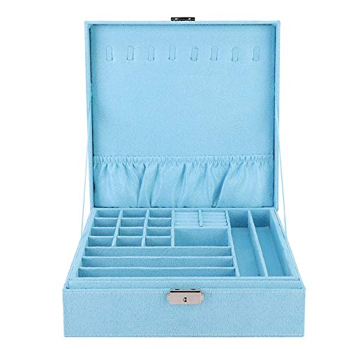 Joyero con Cerradura - Tejido de Gamuza, Anillo de Collar portátil Caja a Prueba de Polvo Gran Capacidad de Doble Capa, para Mujeres niñas, 10.2 * 10.2 * 3.3 Pulgadas(Azul)