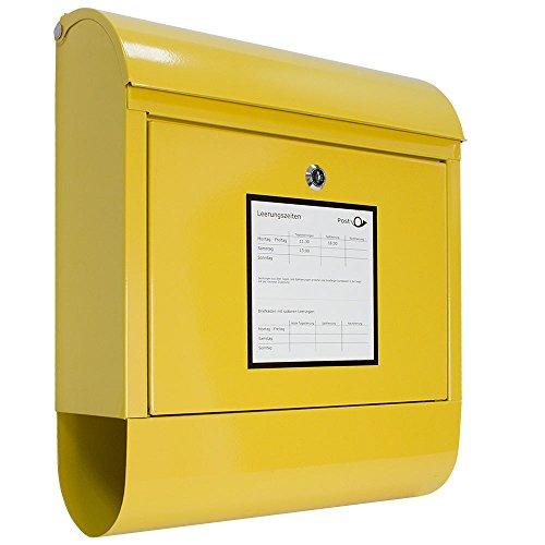 Klassischer Briefkasten Wandbriefkasten Postkasten Zeitungsrolle Zeitungsfach Gelb V2Aox