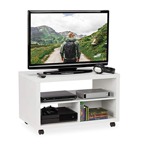 Relaxdays TV Board, fahrbar, 3 Fächer für Geräte & DVDs, stabil, eckig, Couchtisch mit Rollen, HBT 50 x 80 x 50 cm, weiß
