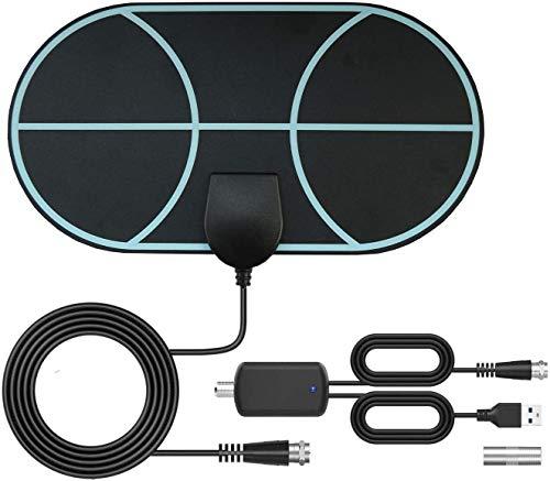 Antenne TV intérieure,antenne TNT à Amplification de 120 Miles avec câble de 4,5m, Prise en Charge d'antenne de télévision numérique Smart TV 4k 1080p