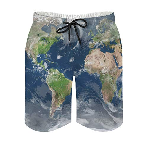 Men's Swimming Trunks Earth Map Ecology World Map Print Quick Dry Men's Shorts with Pockets, mens, White, 4XL