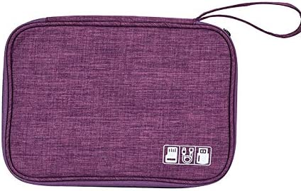 Electronic Organizer Travel Portable Universal Cable Organizer Cable Cord Bag with Strap Electronics Accessories Cases Storage Bag Waterproof for Cable, USB, SD Card, Power Bank, Earphone (Purple)