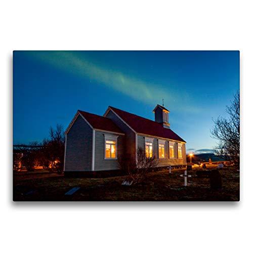 Premium Textil-Leinwand 75 x 50 cm Quer-Format Reykholtskirkja unter Polarlichtern | Wandbild, HD-Bild auf Keilrahmen, Fertigbild auf hochwertigem Vlies, Leinwanddruck von Norman Preißler