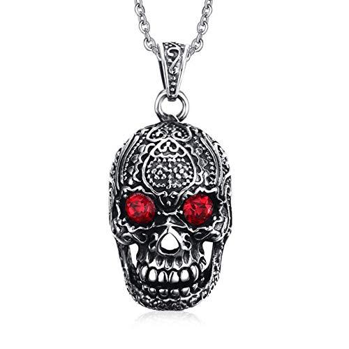 YAMAO Hombre Collar,Hombres Punk Collar Rojo Colgante de Acero Inoxidable cráneo gótico Hallowmas Fiesta joyería