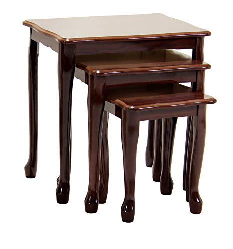 Robin Gloss Nest of Tables, 3 Nesting Tables, Nest Of Side Tables, Solid Wood Legs With Gloss Finish, 510W x 355D x 535H, Living Room Furniture, Mahogany
