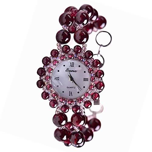 HZLY Cuentas de Cristal de Mesa Reloj Dama Pulsera Granate Rojo Vino Reloj Mujer Relojes de señora