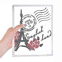 エッフェル塔フランスパリ切手風のバラ 硬質プラスチックルーズリーフノートノート