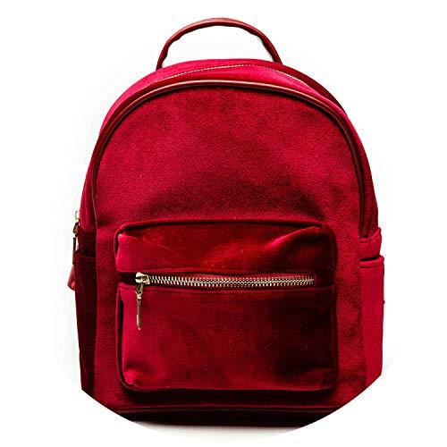 Samt-Rucksäcke für Mädchen, lässiger Stil, mit Reißverschluss, Rot - rot - Größe: Einheitsgröße