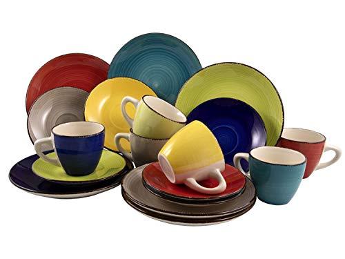 Kaffeeservice Kaffeegeschirr Geschirrset | 18-TLG. (6 Personen) | Steinzeug | Bunt | Handbemalt