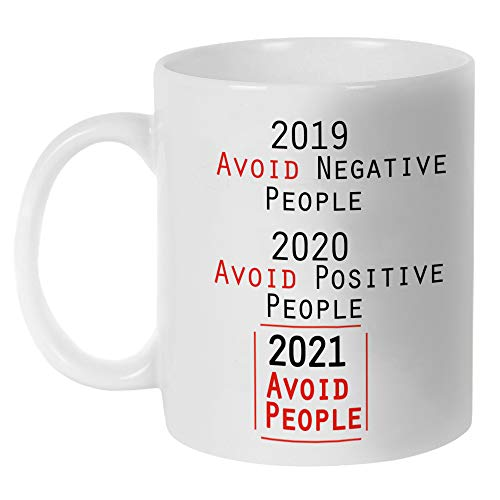 Fatbaby 2021 Avoid People Quarantine Funny Ceramic Mug Gift for Coworkers,Boss,Special Year Social Distance Birthday Gifts Mug for Friends ,Unique 2020 Covid Gift Cup 11oz for Employees