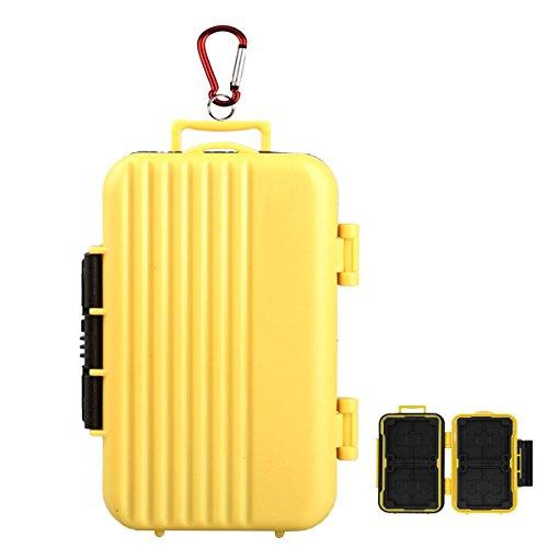 LXH 24 Slots Luggage Holder para Tarjeta de Memoria para 4 (CF) Compact Flash y 8 Secure Digital (SD) y 12 TF/Micro SD Tarjeta de Almacenamiento con mosquetón