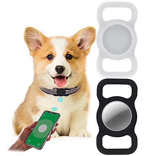 2 Piezas Funda Protectora para Airtag,LucBuy Soporte de Silicona para Mascotas para AirTags,GPS Que Rastrea la Cubierta Anti-perdida del Localizador del Bolso de Escuela del Collar del Gato de