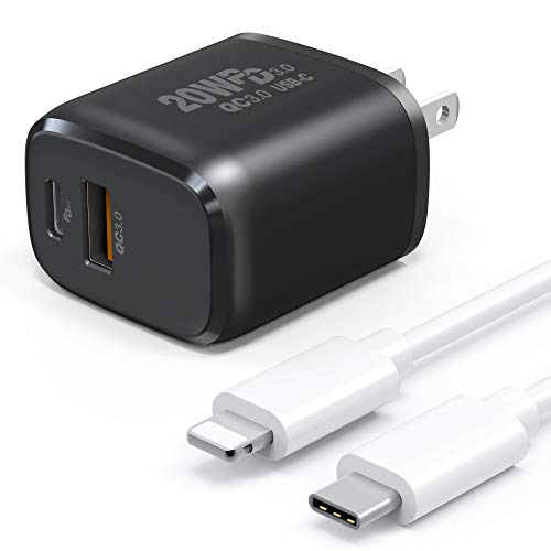Tissyee USB C Charger, 20W Dual Port Wall Charger Plug with Cables, PD with QC 3.0 Power Adapter, Fast Charger for iPhone 12, 12 Mini, 12 Pro, 12 Pro Max, iPad Pro, AirPods Pro, and More(Black)
