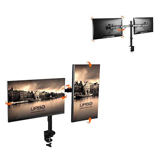 Urbo Diever Ergonomische Monitorarm voor twee schermen met VESA Mount, kabelopruimsysteem, bevestiging met klem of zeilring. Geschikt voor beeldschermen tot 81 cm