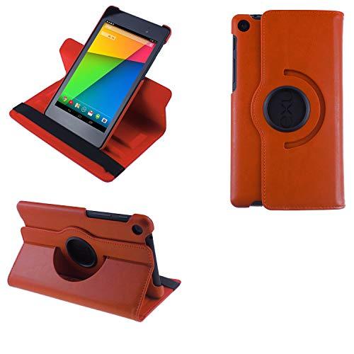 COOVY® 2.0 Cover für Google ASUS Google Nexus 7 (2. Generation Model 2013) Rotation 360° Smart Hülle Tasche Etui Hülle Schutz Ständer Auto Sleep/Wake up | orange
