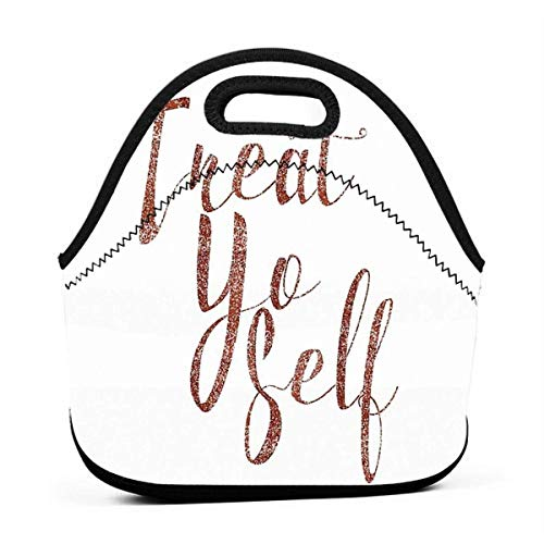 Treat Yo Self Rose Gold Glitter Print Hommes Femmes Isolé Lunch Bag Tote Réutilisable Lunch Box For Work Picnic School